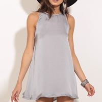 Imitation Silk One-piece Dress hollow plain dyed Solid grey Sold By PC
