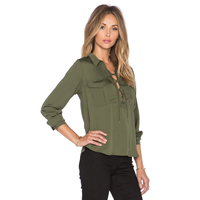 Polyester Lace Up Women Long Sleeve Blouses short front long back plain dyed Solid Sold By PC