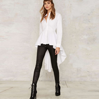 Polyester & Cotton Asymmetrical Women Long Sleeve Shirt short front long back plain dyed Solid white Sold By PC
