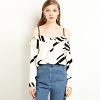 Spandex   Polyester Women Long Sleeve Blouses backless off shoulder   loose printed striped Sold By PC