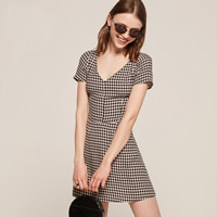 Polyester & Cotton A-line & High Waist One-piece Dress printed plaid Sold By PC