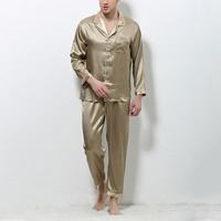 Silk Men Summer Pajama Set imitation silk   breathable patchwork plaid gold Sold By Set
