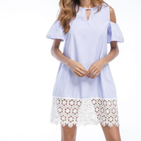 Cotton One-piece Dress off shoulder & hollow with Lace patchwork striped light blue Sold By PC