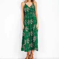 Chiffon One-piece Dress side slit & backless mid-calf printed floral green Sold By PC