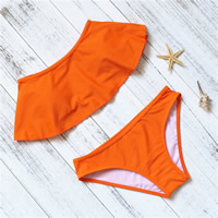 Polyester Bikini flexible   backless two piece   tube   padded   skinny style plain dyed Solid Sold By Set