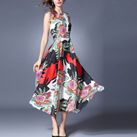 Acetate & Polyester One-piece Dress slimming mid-calf jacquard floral multi-colored Sold By PC