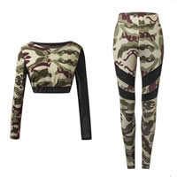 Spandex & Polyester Women Yoga Clothes Set transparent Pants & top patchwork camouflage Sold By Set