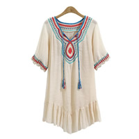 Mixed Fabric & Cotton Miracle Tassel One-piece Dress hollow embroidered patchwork Size:Free Size Sold By PC