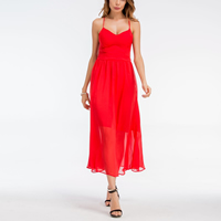 Chiffon Princess   High Waist Beach Dress slimming   backless patchwork Solid red Sold By PC