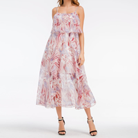 Chiffon Princess   High Waist Beach Dress slimming   backless printed shivering light pink Sold By PC