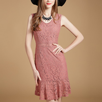 Lace back split   Mermaid One-piece Dress mid-long style with belt   hollow patchwork Solid Sold By PC