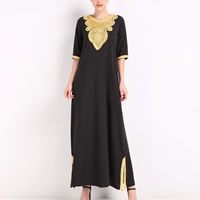 Cotton One-piece Dress side slit loose   hollow   ankle-length with Lace patchwork Solid Sold By PC