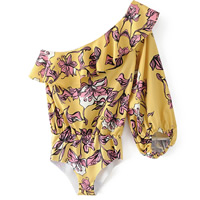 Cotton Sexy Teddy Shoulder ruffles floral yellow Sold By PC