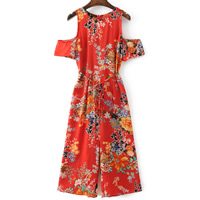 Mixed Fabric   Cotton Long Jumpsuit off shoulder printed floral red Sold By PC