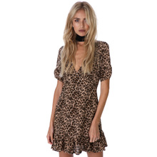 Polyester One-piece Dress loose printed leopard Sold By PC