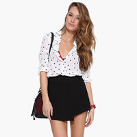 Polyester Women Long Sleeve Shirt short front long back printed heart pattern white Sold By PC