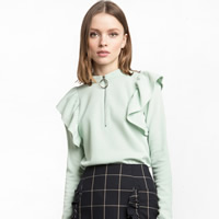 Spandex Women Long Sleeve T-shirt loose ruffles Solid green Sold By PC