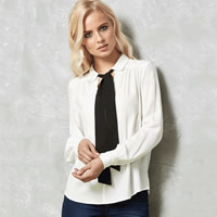 Polyester Women Long Sleeve Shirt ruffles Solid white Sold By PC