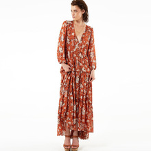 Polyester front slit & Pleated Autumn and Winter Dress loose & ankle-length printed floral reddish orange Sold By PC