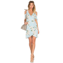 Polyethylene fiber-Ethylene & Polyester A-line & High Waist One-piece Dress off shoulder printed floral turquoise blue Sold By PC