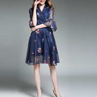 Polyester A-line & High Waist One-piece Dress slimming with belt & transparent & breathable patchwork floral blue Sold By PC