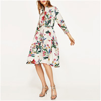 Chiffon & Polyester One-piece Dress with belt & loose printed floral beige Sold By PC