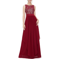 Lace & Polyester Long Evening Dress backless floor-length & hollow patchwork Solid Sold By PC
