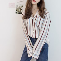 Chiffon & Cotton Women Long Sleeve Shirt loose patchwork striped beige Size:Free Size Sold By PC