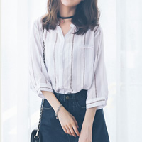 Cotton Women Long Sleeve Shirt patchwork striped white Sold By PC