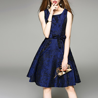 Polyester High Waist One-piece Dress slimming with belt embroidered floral Navy Blue Sold By PC