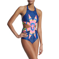 Nylon Monokini backless padded & skinny style printed geometric blue Sold By PC