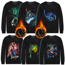 Spandex & Cotton Men Sweatshirts more thicker and more wool & loose printed different pattern for choice black Sold By PC
