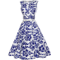 Polyester & Cotton Princess One-piece Dress printed geometric blue Sold By PC
