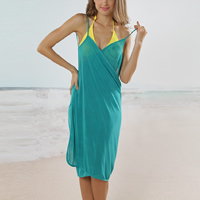 Milk Silk Beach Dress backless & loose plain dyed Solid turquoise blue Size:Free Size Sold By PC