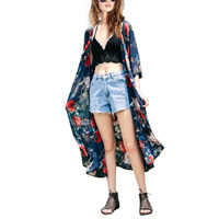 Chiffon Women Sun Protection Clothing loose printed shivering Size:Free Size Sold By PC