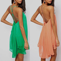 Chiffon & Polyester Asymmetrical Slip Dress backless short front long back & hollow & transparent plain dyed Solid Sold By PC