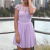Lace & Polyester Pleated One-piece Dress backless hollow embroider patchwork Sold By PC