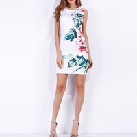 Cotton One-piece Dress mid-long style & back split printed floral white Sold By PC