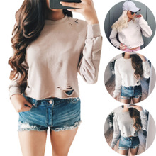 Cotton Crop Top Women Sweatshirts hollow with Modal plain dyed Solid Sold By PC