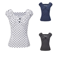 Cotton Women Short Sleeve T-Shirts printed dot Sold By PC