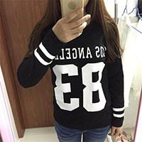 Cotton Women Sweatshirts loose printed number pattern black Size:L Sold By PC