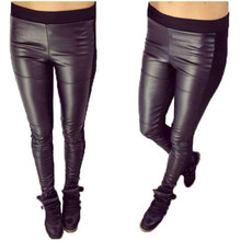 PU Leather Women Leggings slimming breathable with Cotton patchwork Solid black Sold By PC