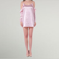 Polyester One-piece Dress backless with belt & off shoulder with Satin patchwork Solid pink Sold By PC