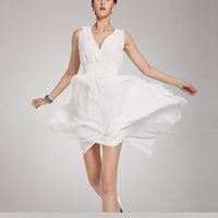 Polyester Asymmetrical & High Waist One-piece Dress deep V & backless with Chiffon patchwork Solid white Sold By PC
