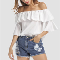 Cotton Fabric Women Three Quarter Sleeve Blouses backless off shoulder patchwork striped white Sold By PC