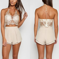 Lace Sleeveless Nightclub Top deep V & backless loose & transparent embroider floral Sold By PC
