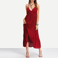 Milk Silk Beach Dress deep V & backless ankle-length patchwork Solid Sold By PC