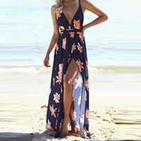 Polyester front slit Beach Dress deep V & backless floor-length printed floral Navy Blue Sold By PC
