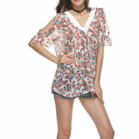Chiffon Women Five Point Sleeve Shirt off shoulder printed shivering multi-colored Sold By PC