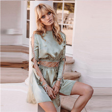 Polyester Lace Up & High Waist One-piece Dress slimming off shoulder patchwork Solid light blue Sold By PC